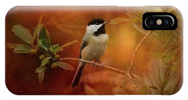 Autumn Day Chickadee Bird Art IPhone Case