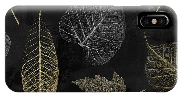 Silver And Gold iPhone Case - Autumn Gold Leaf Pattern by Mindy Sommers