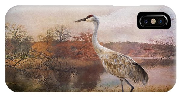 Autumn Lake Crane IPhone Case