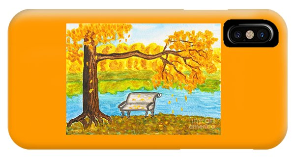 Autumn Landscape With Tree And Bench, Painting IPhone Case