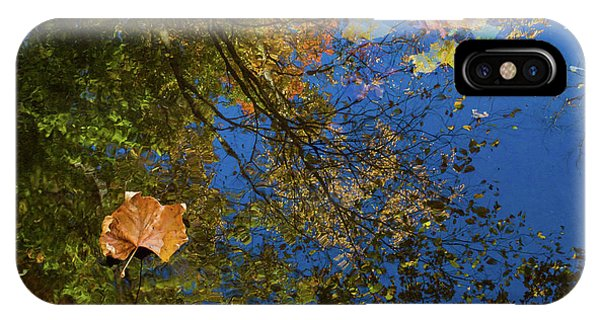 IPhone Case featuring the photograph Autumn Leaf Reflections by Lon Dittrick