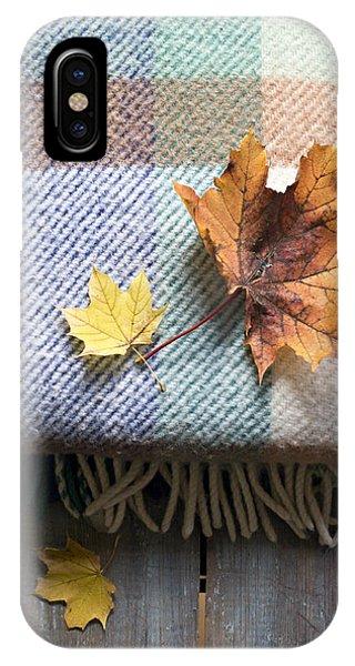 Autumn Leaves On Wool Plaid Blanket IPhone Case