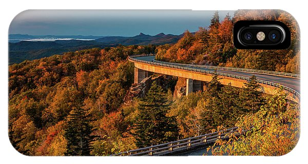Morning Sun Light - Autumn Linn Cove Viaduct Fall Foliage IPhone Case