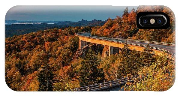 Morning Sun Light - Autumn Linn Cove Viaduct Fall Foliage IPhone Case