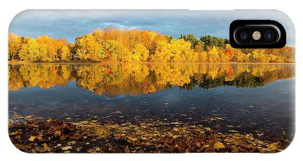 Autumn Morning Reflection On Lake Pentucket IPhone Case