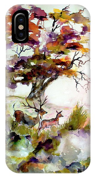 IPhone Case featuring the painting Autumn Oak And Deer Sunset  by Ginette Callaway