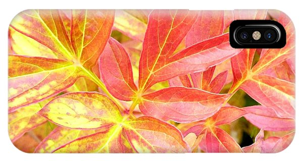 Peony iPhone Case - Autumn Peony Leaves by Will Borden