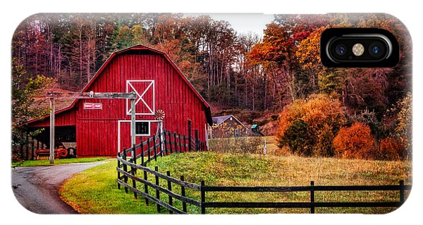 Amish Country iPhone Case - Autumn Red Barn by Debra and Dave Vanderlaan