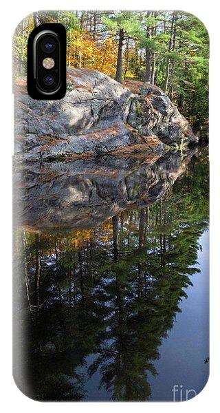 Autumn Reflections At Runaround Pond In Durham Maine  -20224 IPhone Case