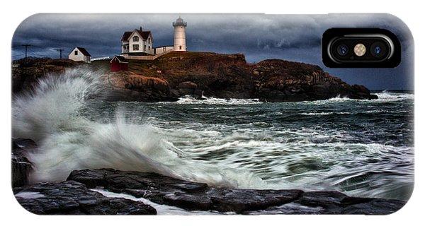 New England Coast iPhone Case - Autumn Storm At Cape Neddick by Rick Berk