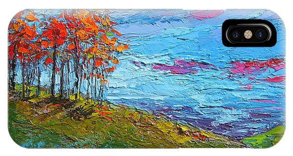 IPhone Case featuring the painting Autumn Sunset - Modern Impressionist Palette Knife Oil Painting by Patricia Awapara