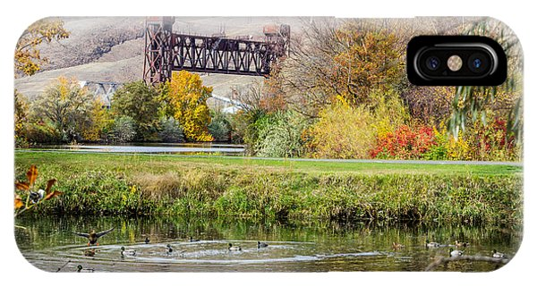 Autumn Train Bridge IPhone Case