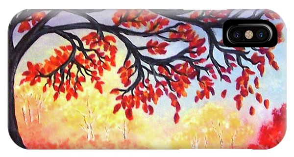 IPhone Case featuring the painting Autumn Tree by Sonya Nancy Capling-Bacle