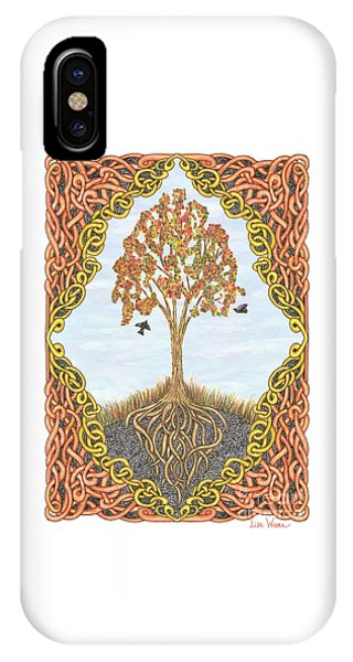Autumn Tree With Knotted Roots And Knotted Border IPhone Case