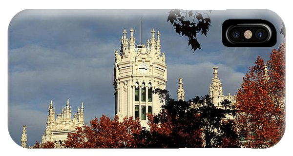 Prado iPhone Case - Autumn Trees And Palace Of Communication Madrid by James Brunker