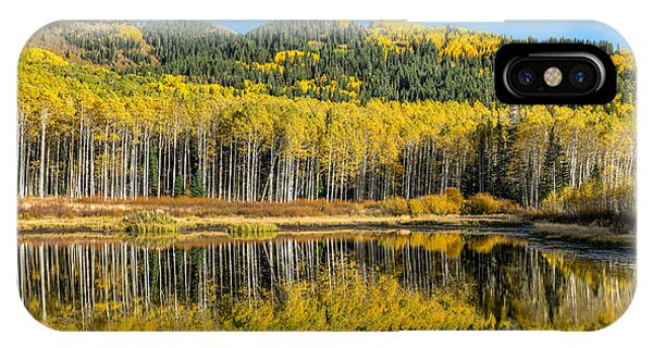 Autumn Trees Reflecting On Willow Lake In Utah IPhone Case