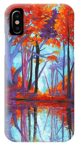 IPhone Case featuring the painting Autumnal Landscape, Impressionistic Art by Patricia Awapara