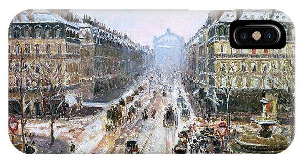 Avenue iPhone Case - Avenue De L'opera - Effect Of Snow by Camille Pissarro