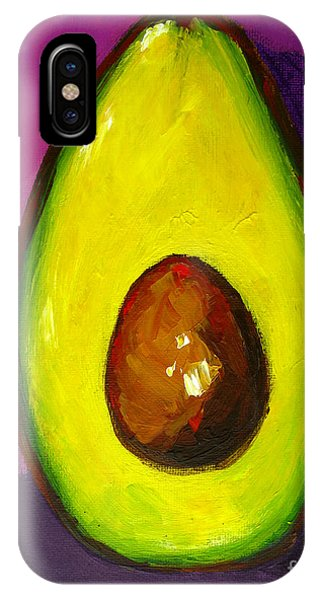 Avocado Modern Art, Kitchen Decor, Purple Background IPhone Case