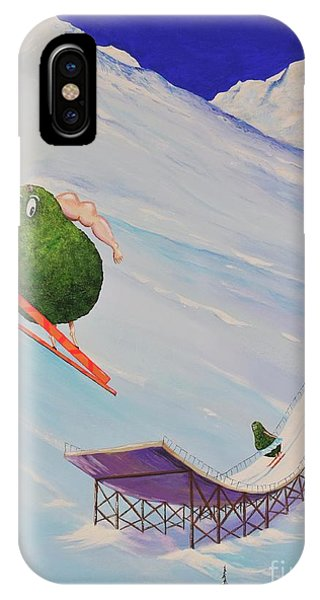 IPhone Case featuring the painting Avocados Can Fly by Mary Scott
