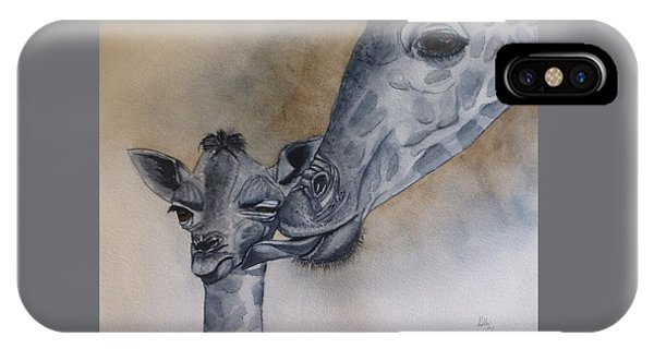 Baby And Mother Giraffe IPhone Case