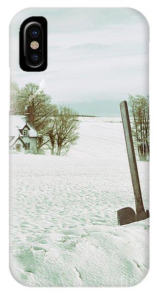 Treeline iPhone Case - Axe In Snow Scene by Amanda Elwell