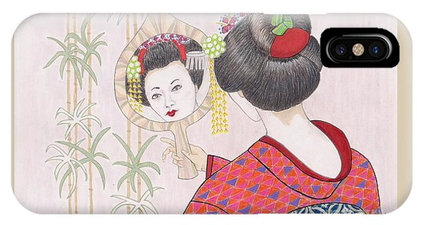 Ayano -- Portrait Of Japanese Geisha Girl IPhone Case