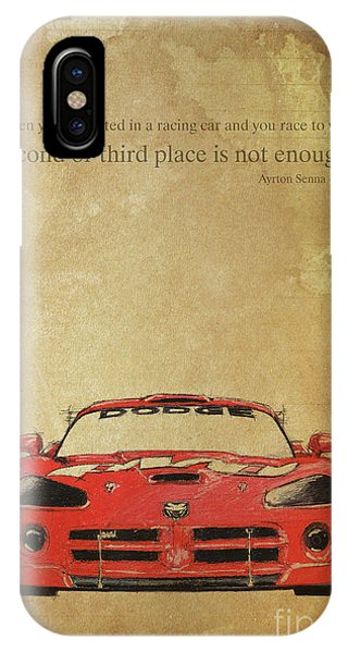 1 iPhone Case - Ayrton Senna Inspirational Quote And Original Red Dodge Viper Handmade Portrait by Drawspots Illustrations