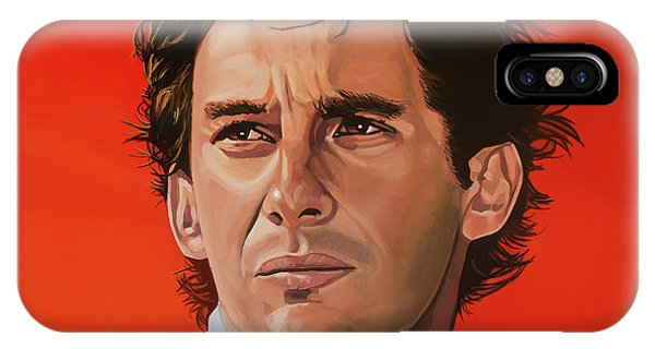 Accident iPhone Case - Ayrton Senna Portrait Painting by Paul Meijering