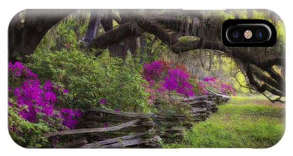 IPhone Case featuring the photograph Azalea Fence Under Giant Oaks by Ken Barrett