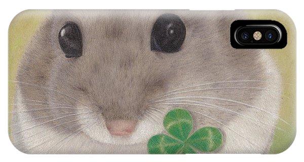Hamster iPhone Case - Azuki And A Four-leaf Clover by Kazumi Haseyama