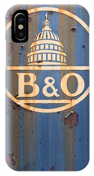 B And O Railroad Rail Car Signage IPhone Case