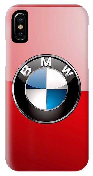 Sports iPhone Case - B M W Badge On Red  by Serge Averbukh