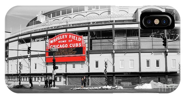 Chicago iPhone Case - B-w Wrigley 100 Years Young by David Bearden