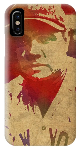 Babe Ruth iPhone Case - Babe Ruth Baseball Player New York Yankees Vintage Watercolor Portrait On Worn Canvas by Design Turnpike