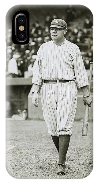 Babe Ruth iPhone Case - Babe Ruth Going To Bat by Jon Neidert