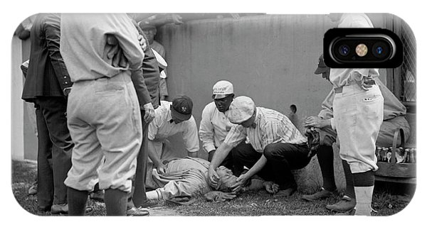 Babe Ruth iPhone Case - Babe Ruth Knocked Out By A Wild Pitch by Jon Neidert