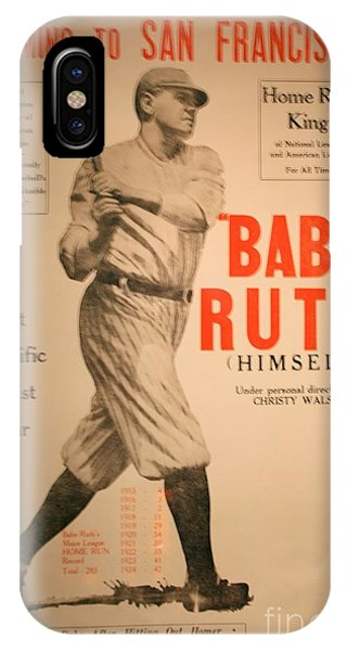 Baseball Hall Of Fame iPhone Case - Babe Ruth Old Banner by Chuck Kuhn
