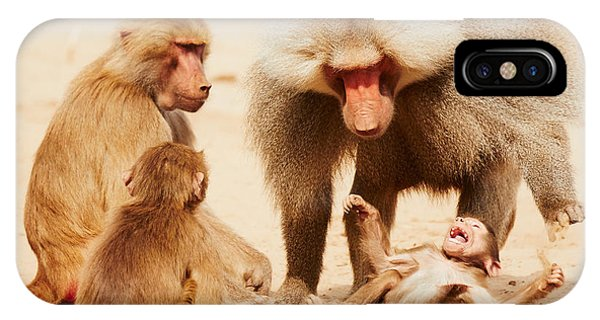 Baboon Family Having Fun In The Desert IPhone Case