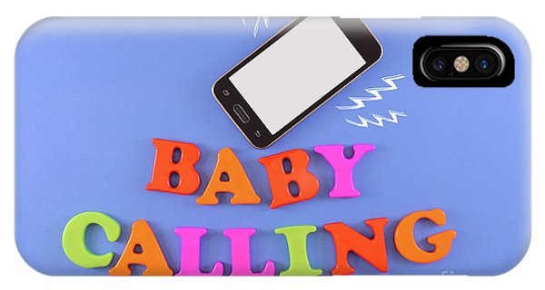 Baby Calling. Baby Shower Concept In Flat Lay IPhone Case