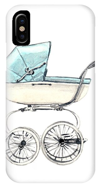 Baby Blue iPhone Case - Baby Carriage In Blue - Vintage Pram English by Laura Row