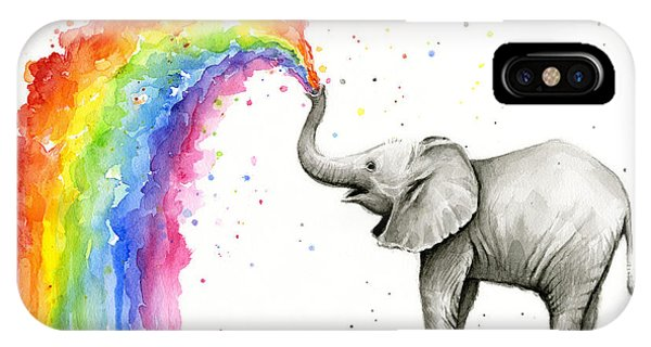 Safari iPhone Case - Baby Elephant Spraying Rainbow by Olga Shvartsur