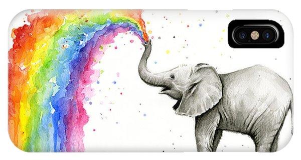 Rainbow iPhone Case - Baby Elephant Spraying Rainbow by Olga Shvartsur