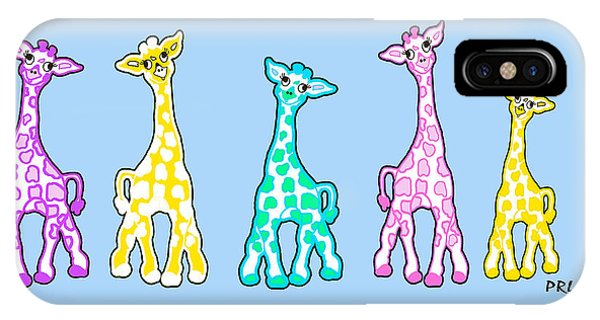 Baby Giraffes In A Row Pastels IPhone Case