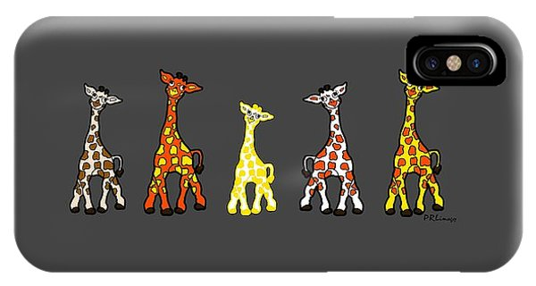Baby Giraffes In A Row IPhone Case