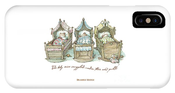 The Brambly Hedge Baby Mice Snuggle In Their Cots IPhone Case