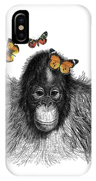 Fruit iPhone Case - Baby Monkey With Orange Butterflies by Madame Memento