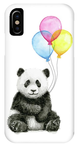 Baby Panda Watercolor With Balloons IPhone Case