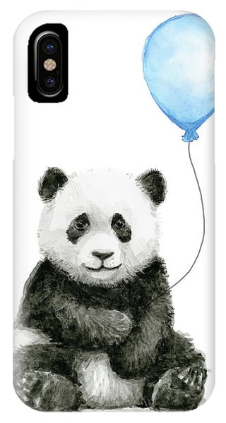 Jungle iPhone Case - Baby Panda With Blue Balloon Watercolor by Olga Shvartsur