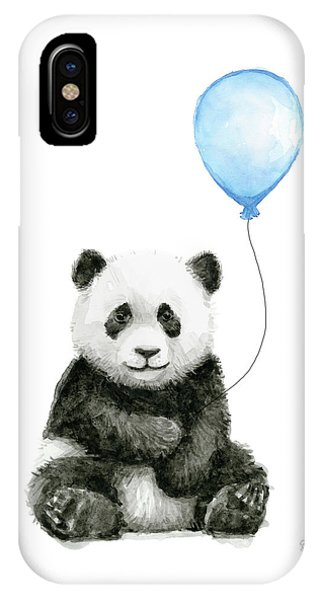 Baby Blue iPhone Case - Baby Panda With Blue Balloon Watercolor by Olga Shvartsur
